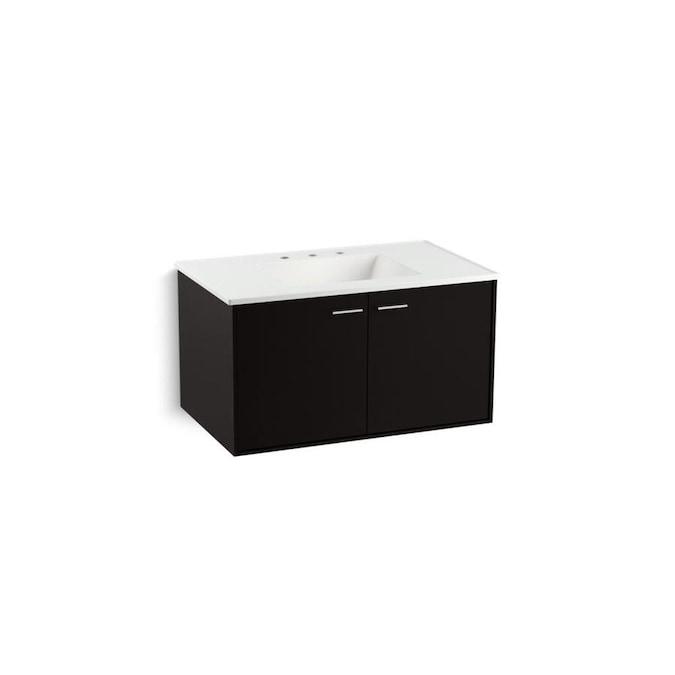 kohler jute 36in batiste black bathroom vanity cabinet in