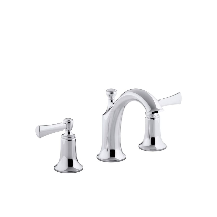 Kohler Elliston Polished Chrome 2 Handle Widespread Watersense Bathroom Faucet Drain Included
