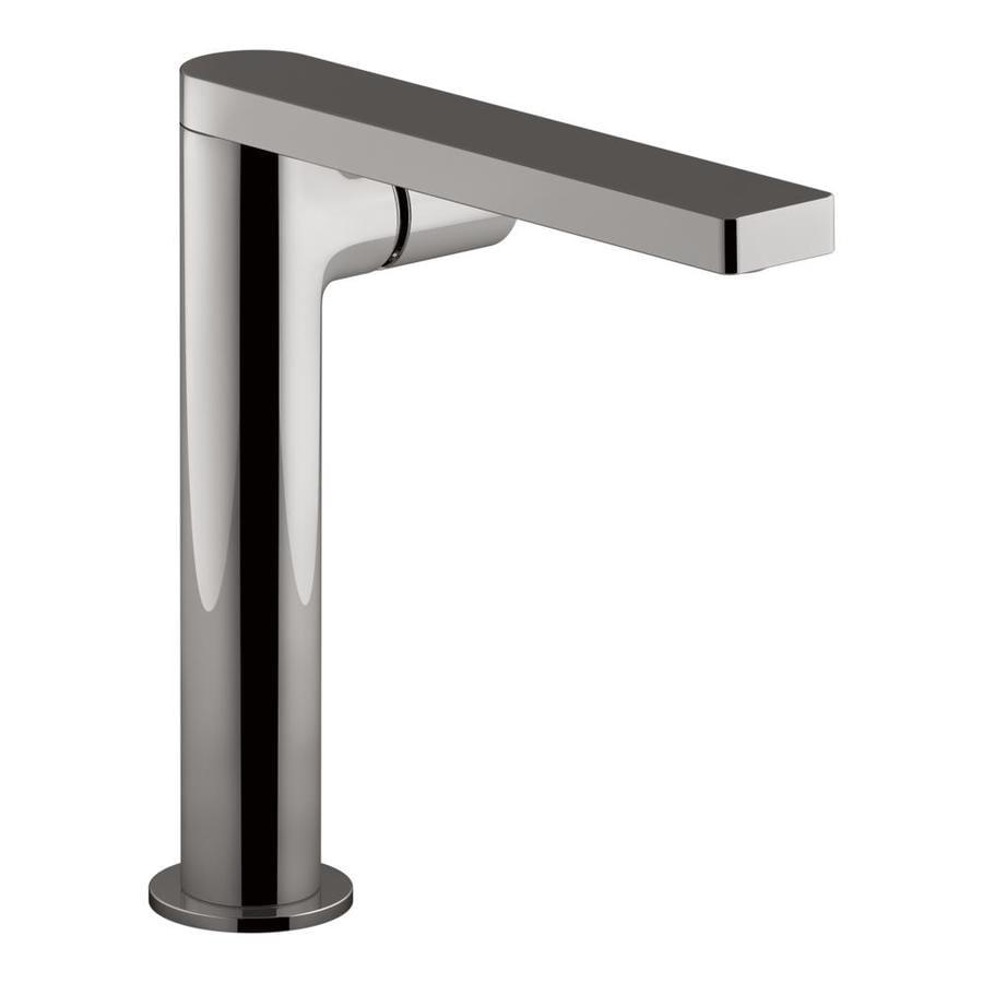 Shop kohler composed vibrant titanium 1 handle single hole bathroom sink faucet at for Kohler bathroom single hole faucets