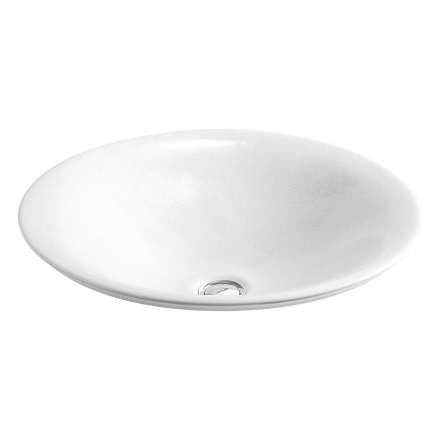 Kohler Vessel Sinks : Shop KOHLER Carillon French Paisley Vessel Round Bathroom Sink at ...