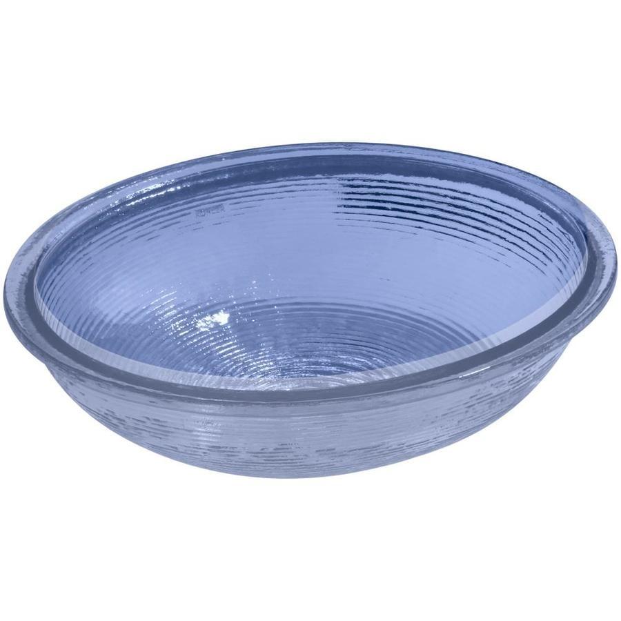 KOHLER Whist Translucent Sapphire Glass Undermount Oval Bathroom Sink