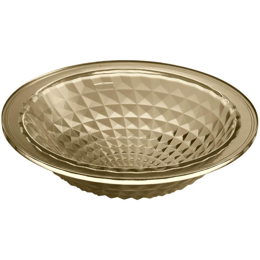 KOHLER Kallos Translucent Sandalwood Glass Undermount Round Bathroom Sink