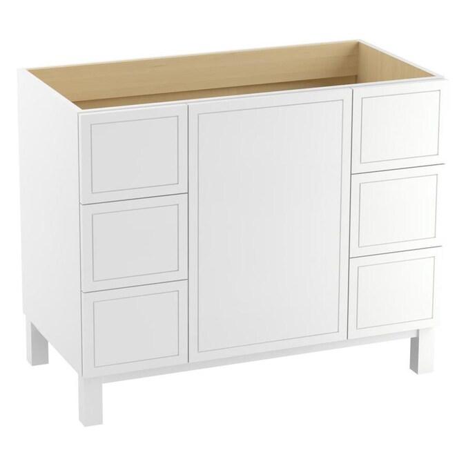 kohler jacquard 42in linen white bathroom vanity cabinet