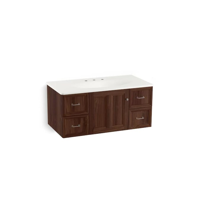 kohler damask 42in terry walnut bathroom vanity cabinet