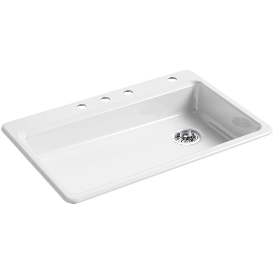 KOHLER Riverby 22-in x 33-in White Single-Basin Cast Iron Drop-in 4-Hole Residential Kitchen Sink