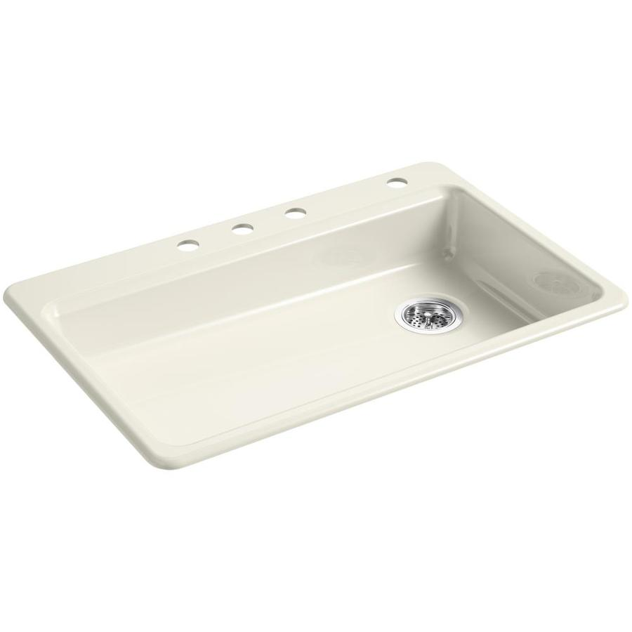KOHLER Riverby 22-in x 33-in Biscuit Single-Basin Cast Iron Drop-in 4-Hole Residential Kitchen Sink