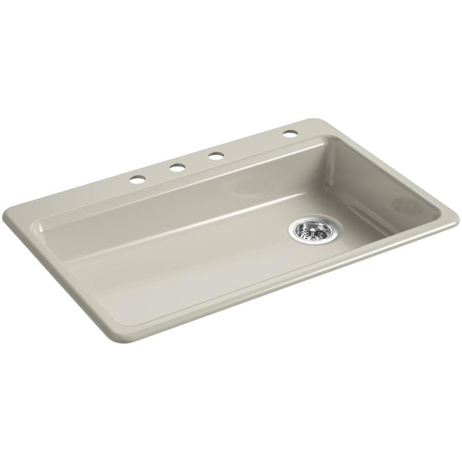 Shop kohler riverby 22 in x 33 in sandbar single basin - Cast iron kitchen sink manufacturers ...