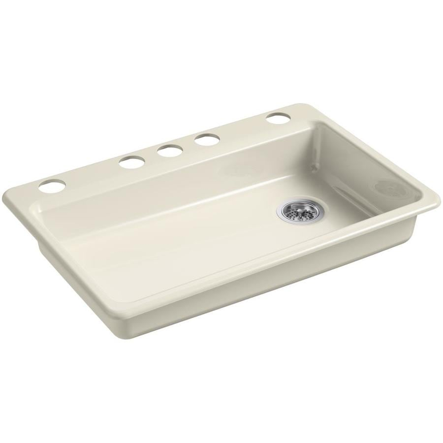 KOHLER Riverby 22-in x 33-in Almond Single-Basin Cast Iron Undermount 5-Hole Residential Kitchen Sink