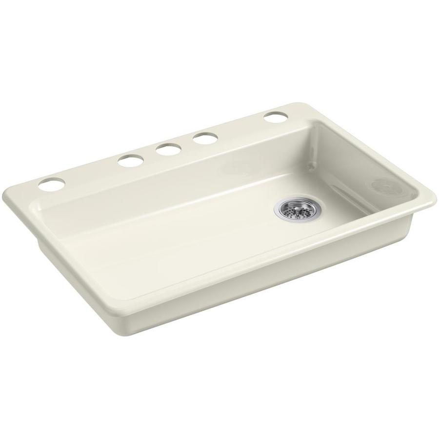 KOHLER Riverby 22.0000-in x 33.0000-in Biscuit Single-Basin Cast Iron Undermount 5-Hole Residential Kitchen Sink