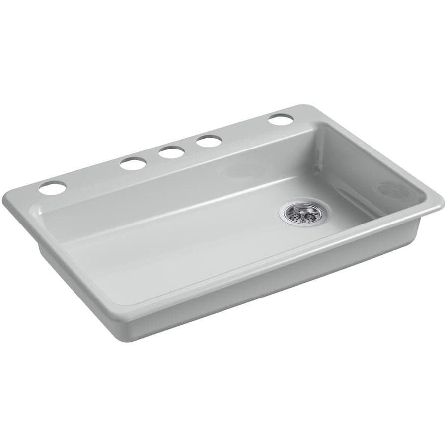 KOHLER Riverby 22-in x 33-in Ice Grey Single-Basin Cast Iron Undermount 5-Hole Residential Kitchen Sink