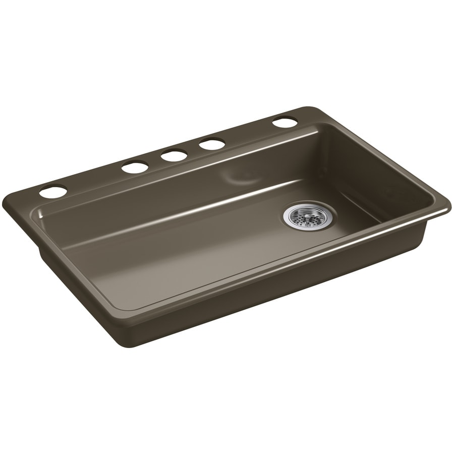 KOHLER Riverby 22.0000-in x 33.0000-in Suede Single-Basin Cast Iron Undermount 5-Hole Residential Kitchen Sink