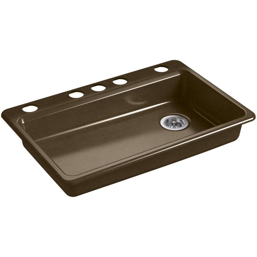 KOHLER Riverby 22.0000-in x 33.0000-in Black 'N Tan Single-Basin Cast Iron Undermount 5-Hole Residential Kitchen Sink