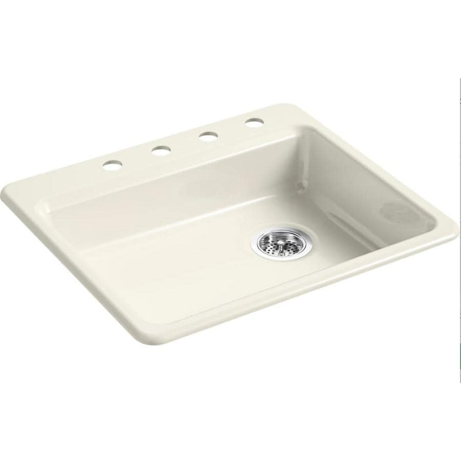 KOHLER Riverby 25-in x 22-in White Single-Basin Cast Iron Drop-in 4-Hole Residential Kitchen Sink