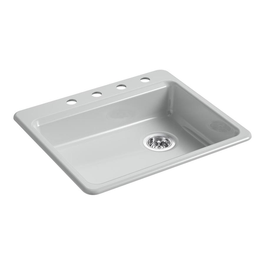 Kohler Single Basin Kitchen Sink : ... Grey Single-Basin Cast Iron Drop-in 4-Hole Residential Kitchen Sink