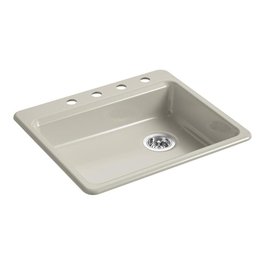 KOHLER Riverby 25.0000-in x 22.0000-in Sandbar Single-Basin Cast Iron Drop-in 4-Hole Residential Kitchen Sink