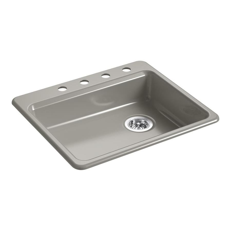KOHLER Riverby 25.0000-in x 22.0000-in Cashmere Single-Basin Cast Iron Drop-in 4-Hole Residential Kitchen Sink