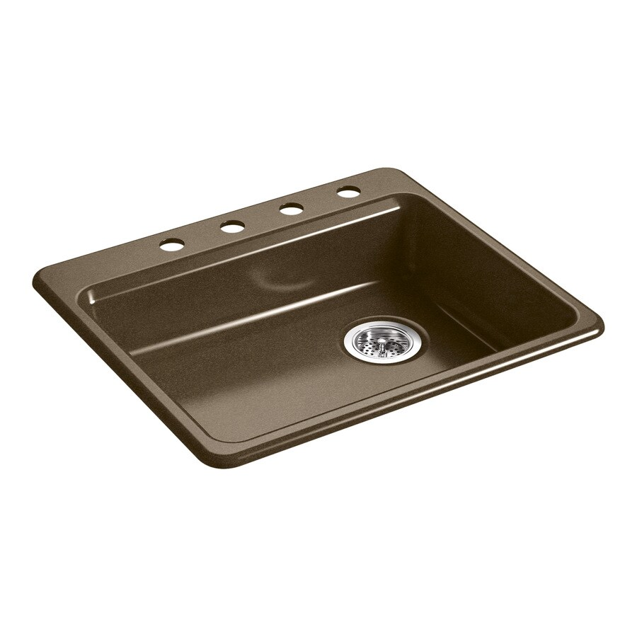 KOHLER Riverby 25.0000-in x 22.0000-in Black 'N Tan Single-Basin Cast Iron Drop-in 4-Hole Residential Kitchen Sink