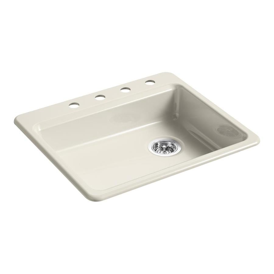 Shop kohler riverby 25 in x 22 in cane sugar single basin for Cast iron sink manufacturers
