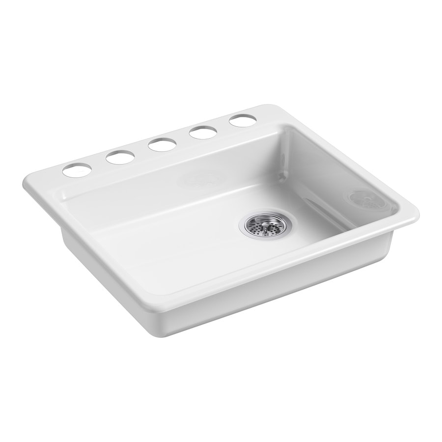 Shop Kohler Riverby 25 In X 22 In White Single Basin Cast Iron Undermount 5 Hole Residential