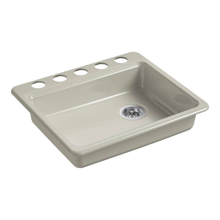 KOHLER Riverby 25.0000-in x 22.0000-in Sandbar Single-Basin Cast Iron Undermount 5-Hole Residential Kitchen Sink