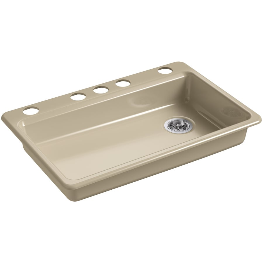 KOHLER Riverby 22.0000-in x 33.0000-in Mexican Sand Single-Basin Cast Iron Undermount 5-Hole Residential Kitchen Sink