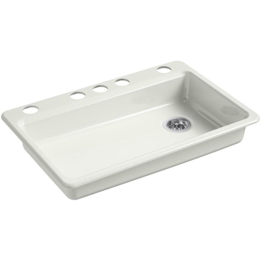KOHLER Riverby 22.0000-in x 33.0000-in Dune Single-Basin Cast Iron Undermount 5-Hole Residential Kitchen Sink