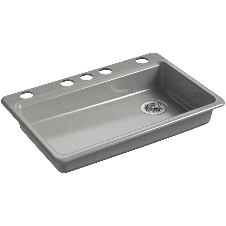 Shop kohler riverby 22 in x 33 in basalt single basin cast - Cast iron kitchen sink manufacturers ...