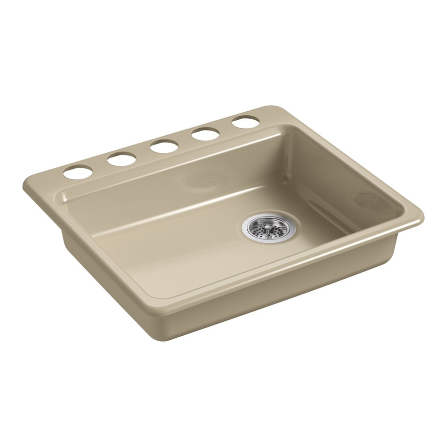 KOHLER Riverby 25-in x 22-in Mexican Sand Single-Basin Cast Iron Undermount 5-Hole Residential Kitchen Sink