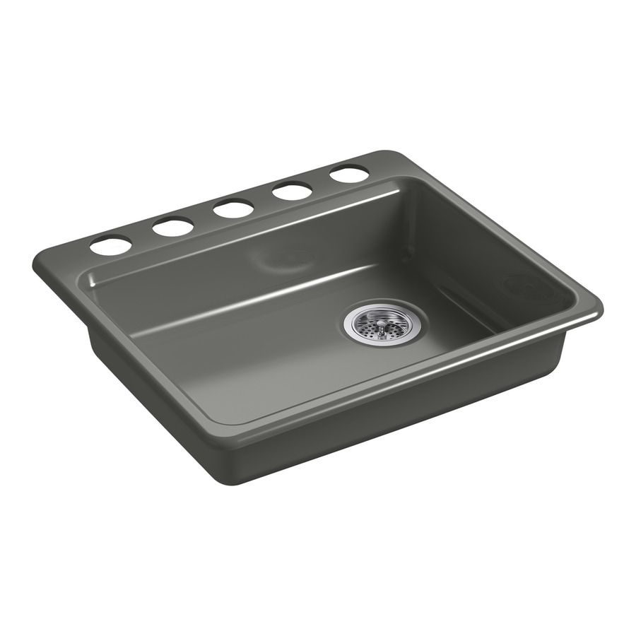 KOHLER Riverby 25-in x 22-in Thunder Grey Single-Basin Cast Iron Undermount 5-Hole Residential Kitchen Sink