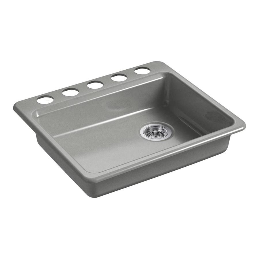 Kohler Single Basin Kitchen Sink : ... Single-Basin Cast Iron Undermount 5-Hole Residential Kitchen Sink at