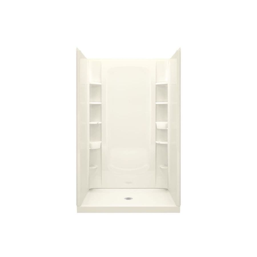 Sterling STORE+ Biscuit Vikrell Wall and Floor 4-Piece Alcove Shower Kit (Common: 48-in x 34-in; Actual: 75.75-in x 48-in x 34-in)