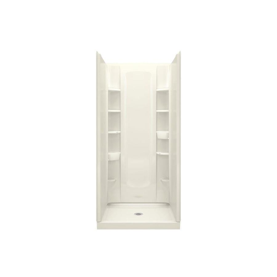 Sterling Store+ Biscuit Wall Vikrell Floor 4-Piece Alcove Shower Kit (Common: 36-in x 34-in; Actual: 75.7500-in x 36-in x 34-in)