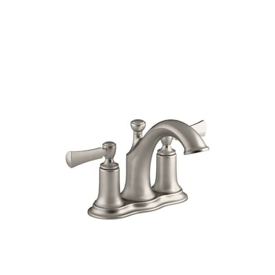 Elliston Brushed Nickel 2 Handle 4 In Centerset Watersense Bathroom Sink Faucet With Drain