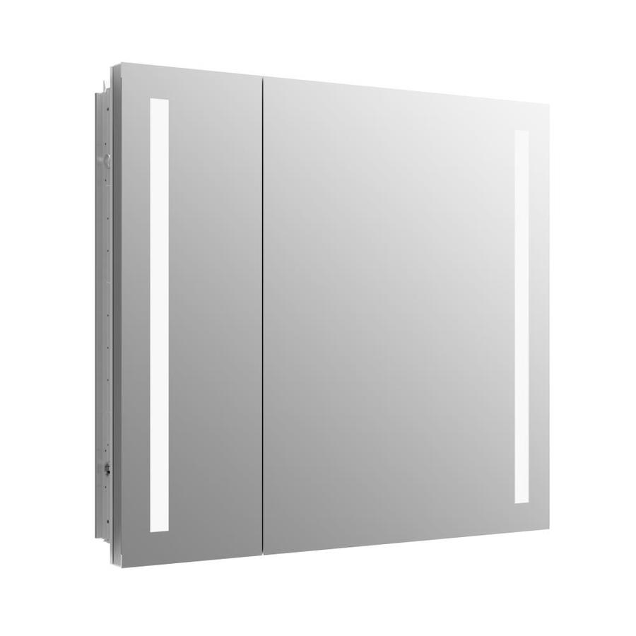 Shop medicine cabinets at lowes kohler verdera 34 in x 30 in rectangle recessed aluminum mirrored medicine cabinet with aloadofball Images
