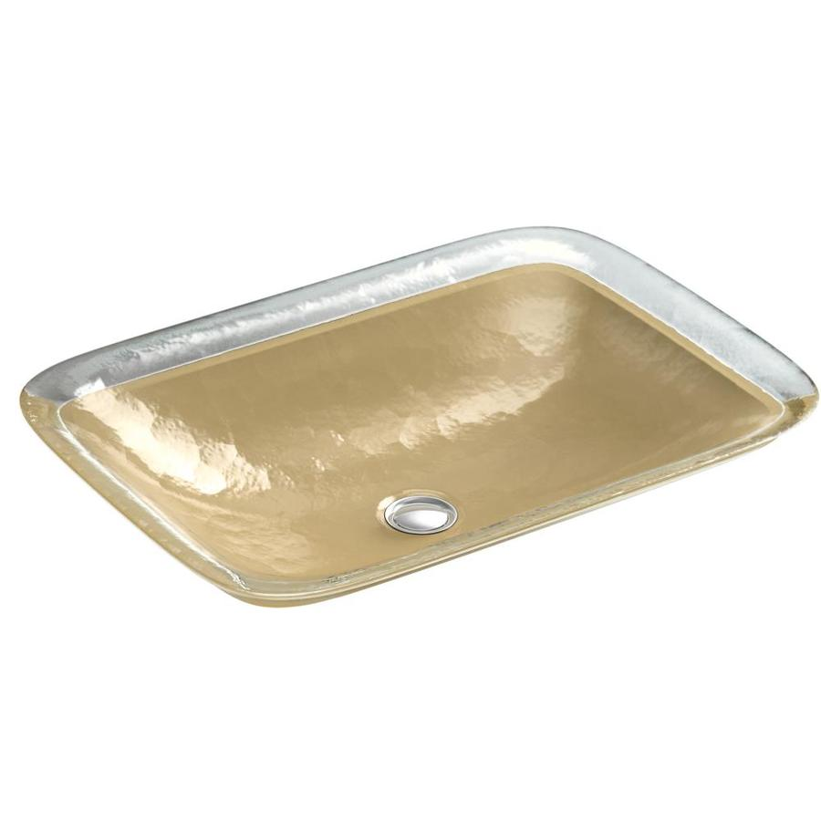 KOHLER Inia Opaque Sandalwood Glass Drop-in Rectangular Bathroom Sink