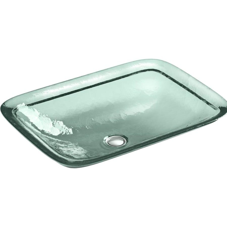 KOHLER Inia Translucent Dew Glass Drop-in Rectangular Bathroom Sink
