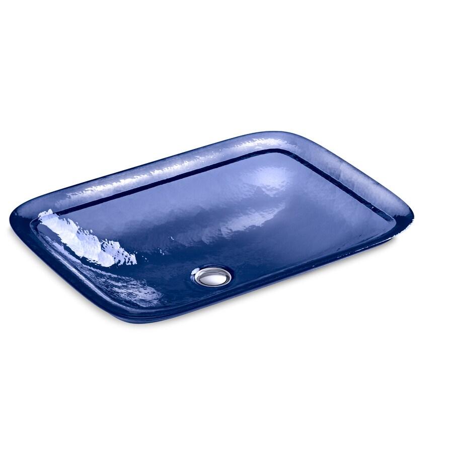 KOHLER Inia Translucent Sapphire Glass Drop-in Rectangular Bathroom Sink