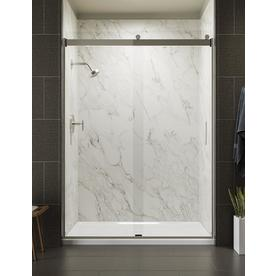 KOHLER Levity 56.625-in to 59.625-in W Frameless Brushed Nickel Bypass/Sliding Shower Door