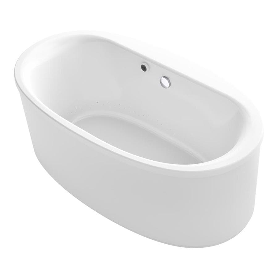 KOHLER Sunstruck 65.5-in White Acrylic Freestanding Air Bath with Center Drain