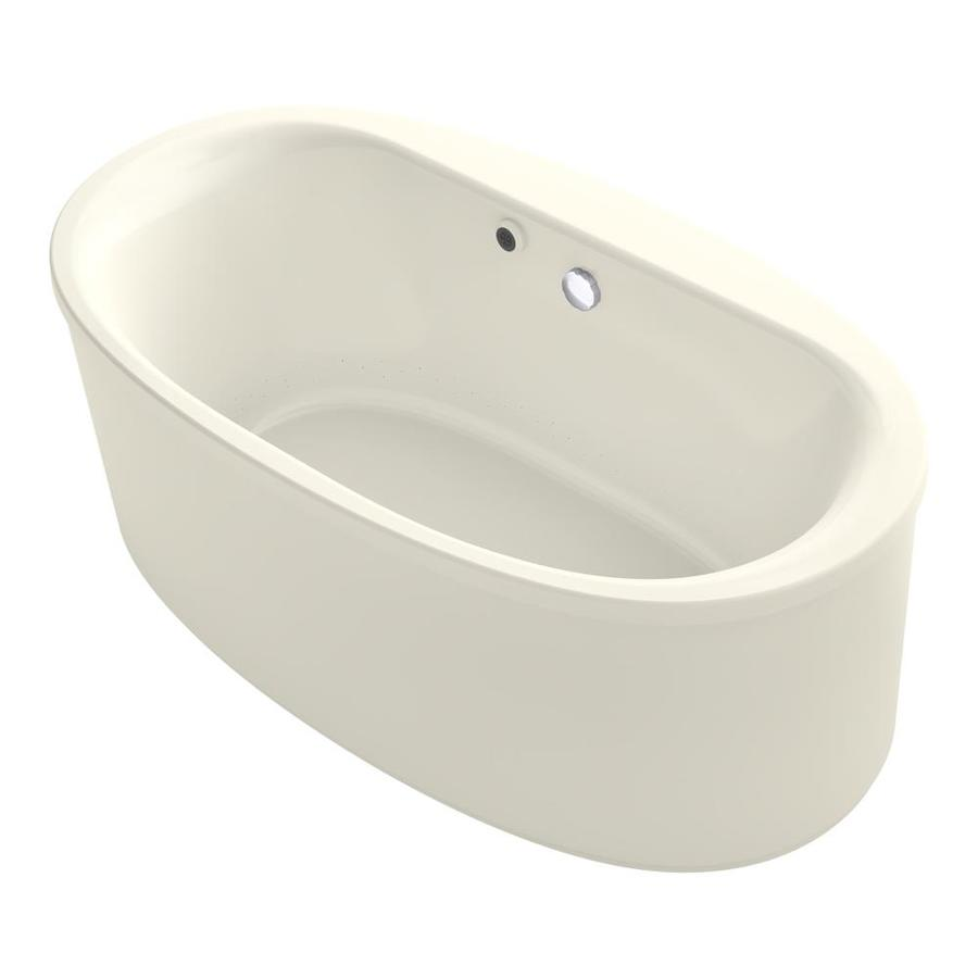 KOHLER Sunstruck 65.5-in Biscuit Acrylic Freestanding Air Bath with Center Drain