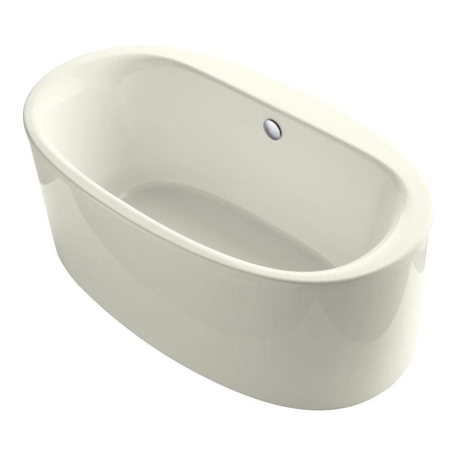 KOHLER Sunstruck Biscuit Acrylic Oval Freestanding Bathtub with Center Drain (Common: 36-in x 66-in; Actual: 24.5-in x 35.5-in x 65.5-in)