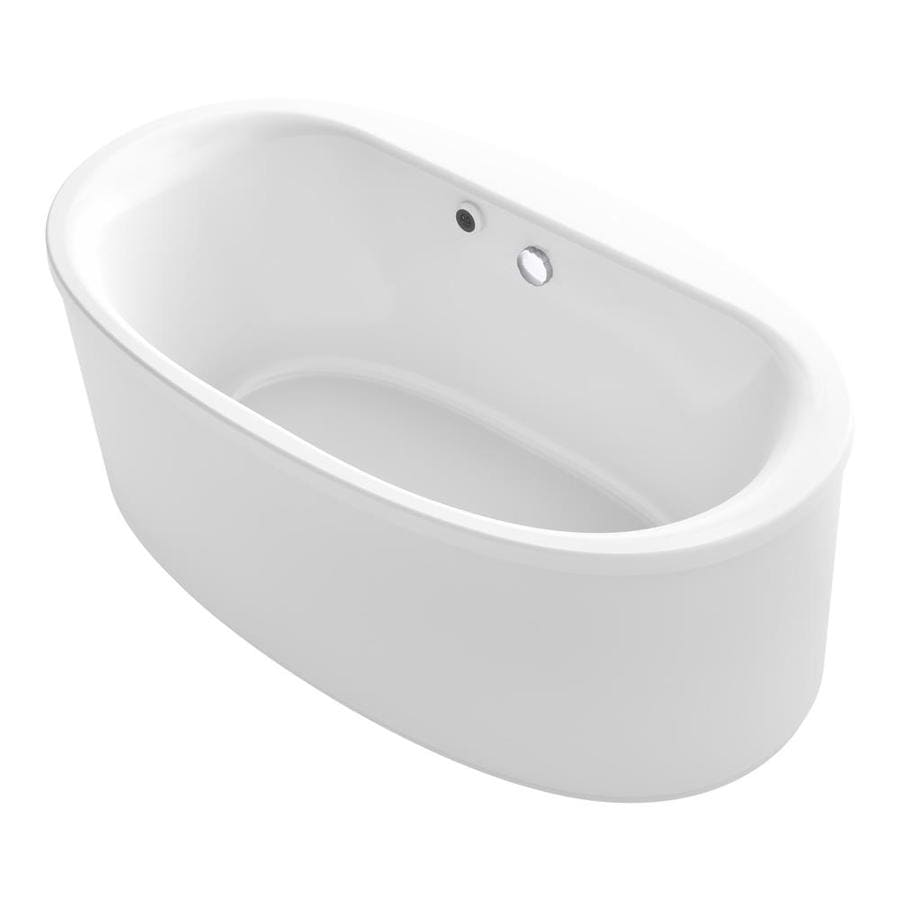 KOHLER Sunstruck White Acrylic Oval Freestanding Bathtub with Center Drain (Common: 36-in x 66-in; Actual: 24.5-in x 35.5-in x 65.5-in