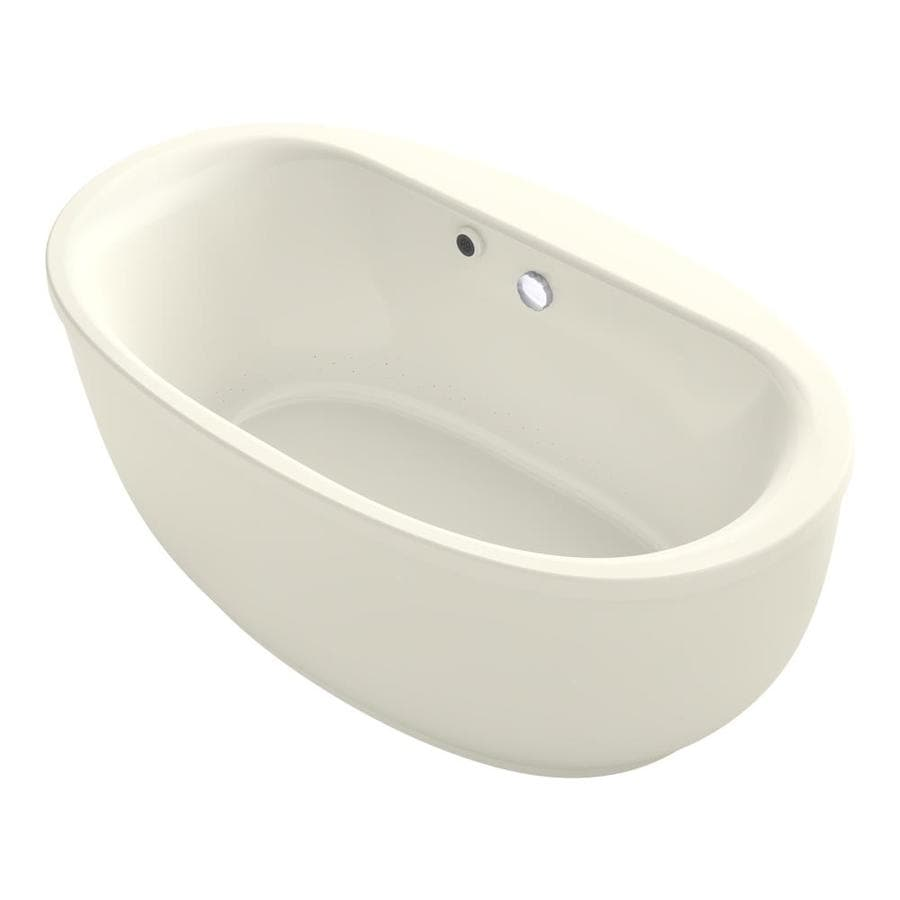 KOHLER Sunstruck 65.5-in Biscuit Acrylic Freestanding Bathtub with Center Drain