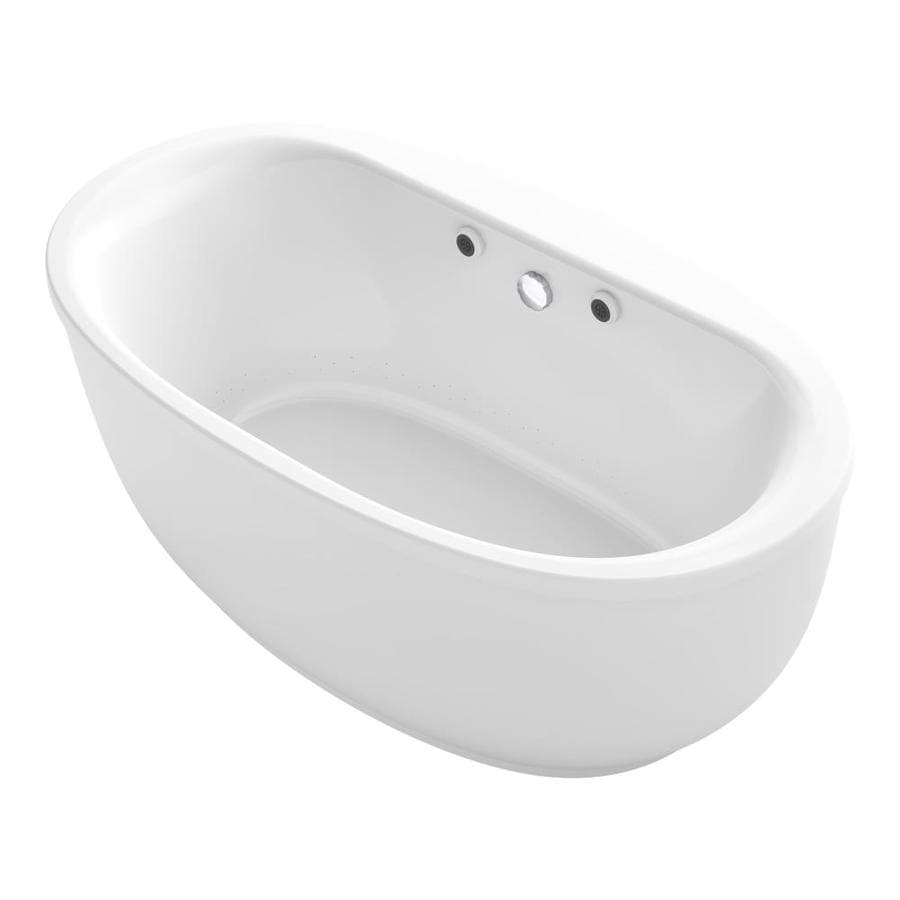 KOHLER Sunstruck White Acrylic Oval Freestanding Bathtub with Center Drain (Common: 36-in x 66-in; Actual: 24.5-in x 35.5-in x 65.5-in)