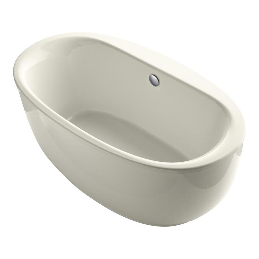 KOHLER Sunstruck Biscuit Acrylic Oval Freestanding Bathtub with Center Drain (Common: 36-in x 66-in; Actual: 24.5-in x 35.5-in x 65.5-in