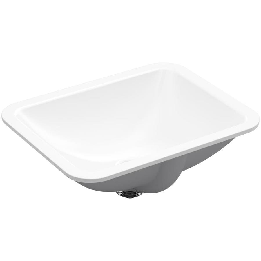 Shop kohler caxton biscuit undermount oval bathroom sink at lowes com - Kohler Caxton Undermount Rectangular Bathroom Sink With Overflow