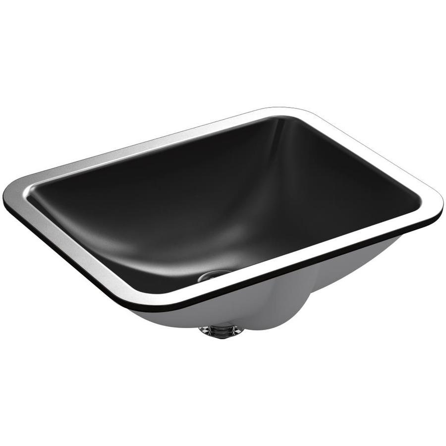 KOHLER Caxton Black Undermount Rectangular Bathroom Sink with Overflow