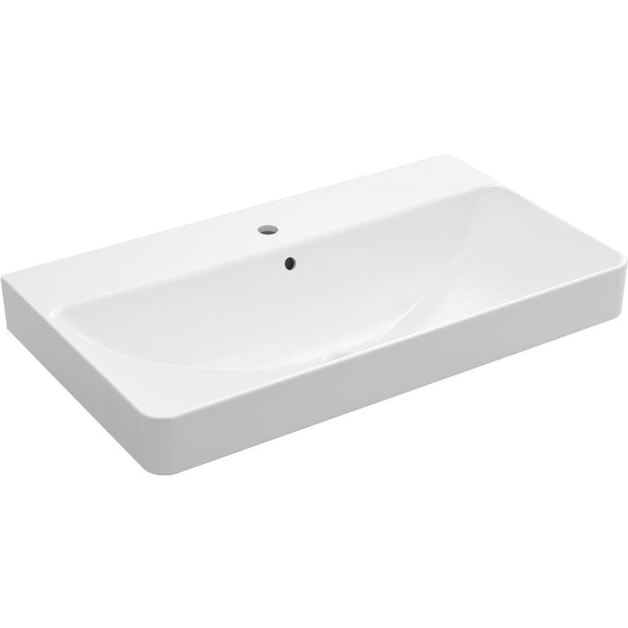 Kohler Vox White Vessel Rectangular Bathroom Sink With And Overflow