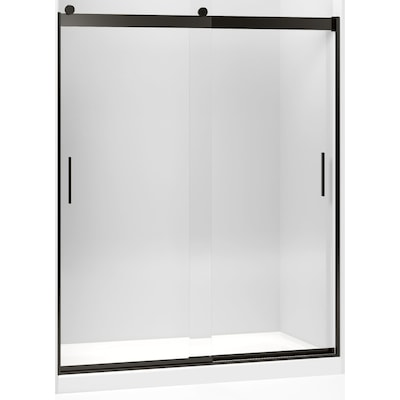 Levity 56 625 In To 59 W Frameless Byp Sliding Anodized Dark Bronze Shower Door