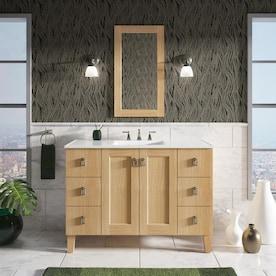 Kohler Poplin 49 In Linen White Single Sink Bathroom Vanity With Linen White Wood Top In The Bathroom Vanities With Tops Department At Lowes Com